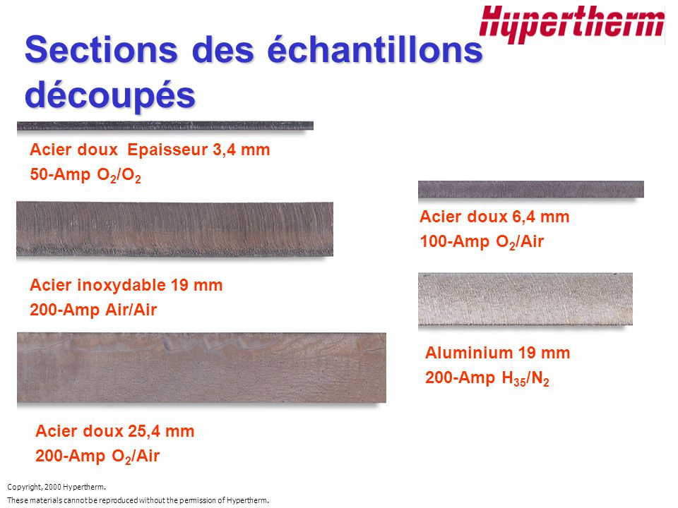 Copyright, 2000 Hypertherm. These materials cannot be reproduced without the permission of Hypertherm. Acier doux Epaisseur 3,4 mm 50-Amp O 2 /O 2 Aci