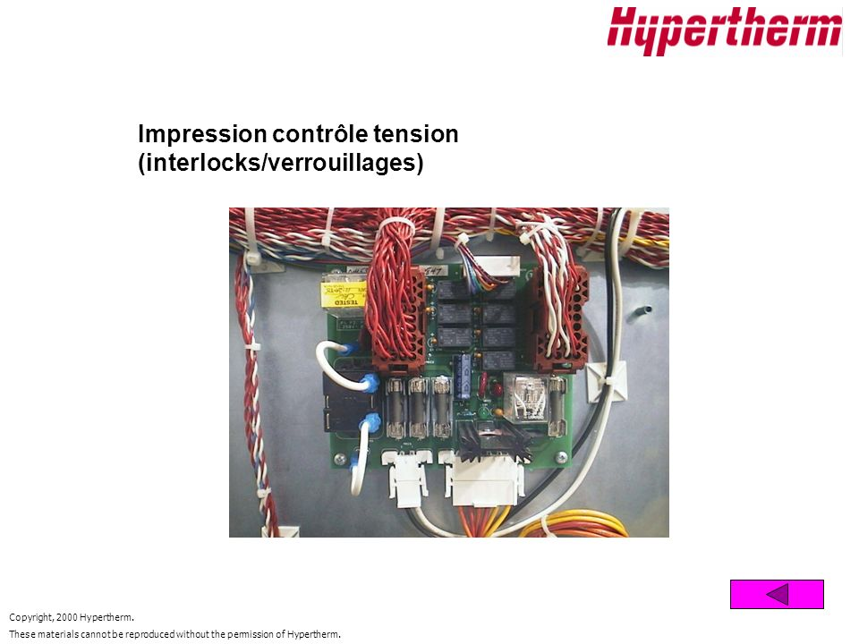 Copyright, 2000 Hypertherm. These materials cannot be reproduced without the permission of Hypertherm. Impression contrôle tension (interlocks/verroui