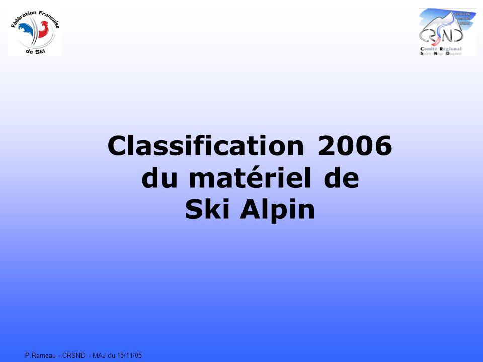 P.Rameau - CRSND - MAJ du 15/11/05 Classification 2006 du matériel de Ski Alpin