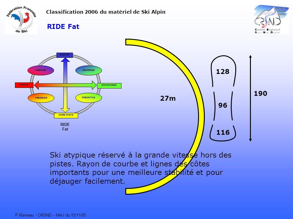 P.Rameau - CRSND - MAJ du 15/11/05 RIDE Fat CARVING FREERIDE FREESTYLE SKICROSS SLALOM HORS-PISTE SNOWPARKS PISTES Classification 2006 du matériel de