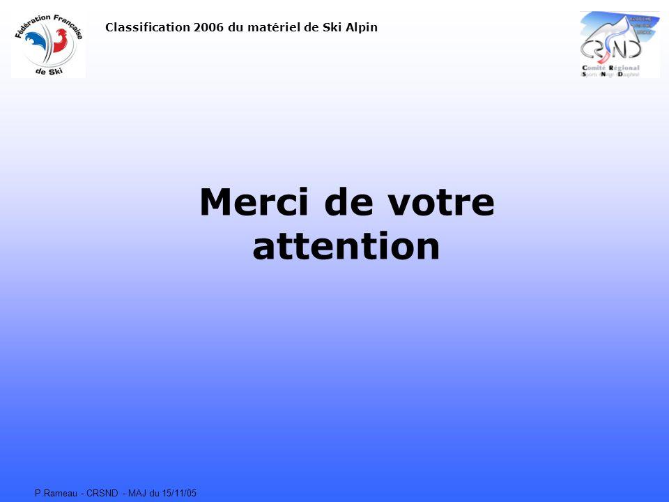 P.Rameau - CRSND - MAJ du 15/11/05 Merci de votre attention Classification 2006 du matériel de Ski Alpin