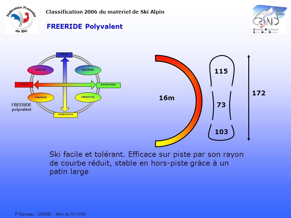 P.Rameau - CRSND - MAJ du 15/11/05 FREERIDE Polyvalent CARVING FREERIDE FREESTYLE SKICROSS SLALOM HORS-PISTE SNOWPARKS PISTES Classification 2006 du matériel de Ski Alpin 16m 115 73 103 172 Ski facile et tolérant.