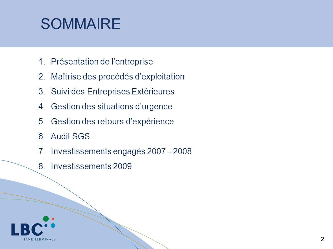 2 SOMMAIRE 1.Présentation de lentreprise 2.Maîtrise des procédés dexploitation 3.Suivi des Entreprises Extérieures 4.Gestion des situations durgence 5.Gestion des retours dexpérience 6.Audit SGS 7.Investissements engagés 2007 - 2008 8.Investissements 2009