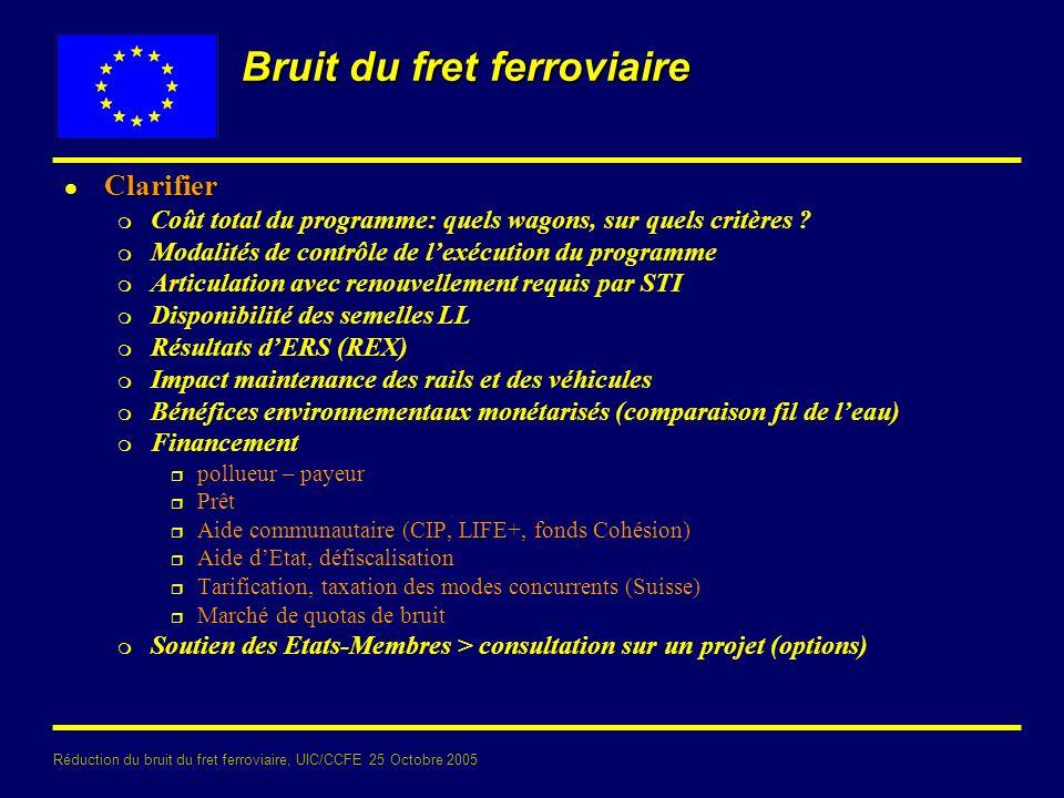 Réduction du bruit du fret ferroviaire, UIC/CCFE 25 Octobre 2005 Bruit du fret ferroviaire l Clarifier m Coût total du programme: quels wagons, sur quels critères .