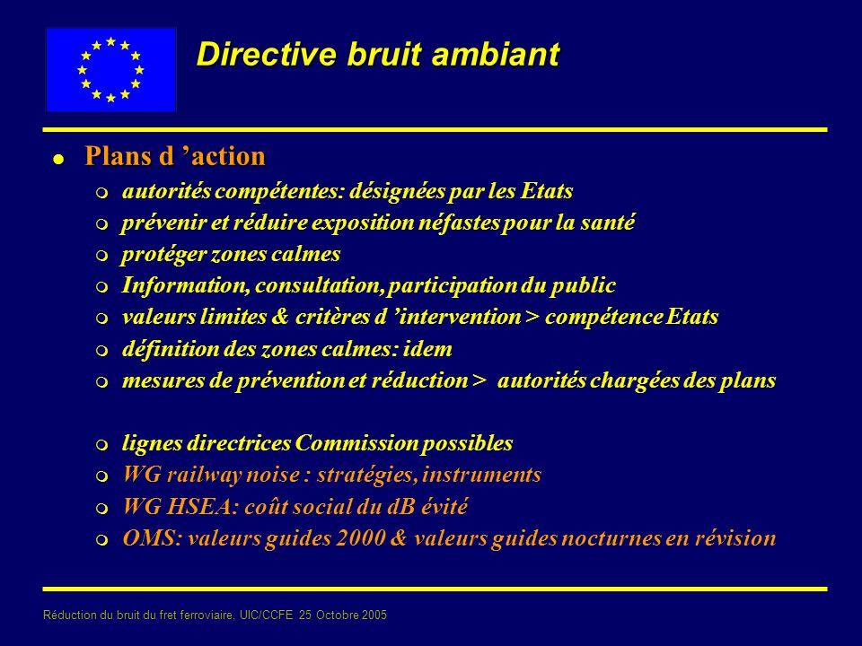 Réduction du bruit du fret ferroviaire, UIC/CCFE 25 Octobre 2005 Directive bruit ambiant l Plans d action m autorités compétentes: désignées par les E
