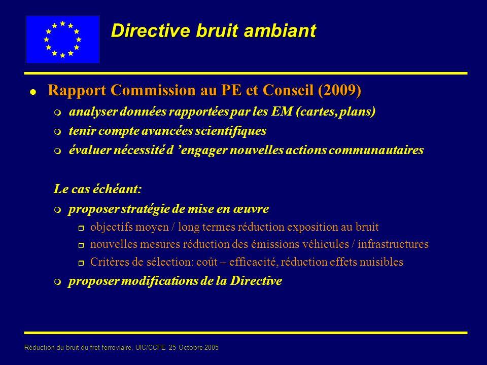 Réduction du bruit du fret ferroviaire, UIC/CCFE 25 Octobre 2005 Directive bruit ambiant l Rapport Commission au PE et Conseil (2009) m analyser donné
