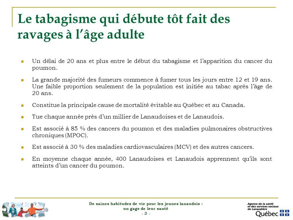 Le tabagisme actif et passif en 2007-2008 dans Lanaudière Un jeune de 12-17 ans sur sept fume ( ~ 5 000 jeunes en 2011).