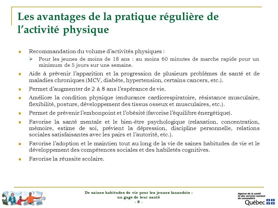Les avantages de la pratique régulière de lactivité physique Recommandation du volume dactivités physiques : Pour les jeunes de moins de 18 ans : au m