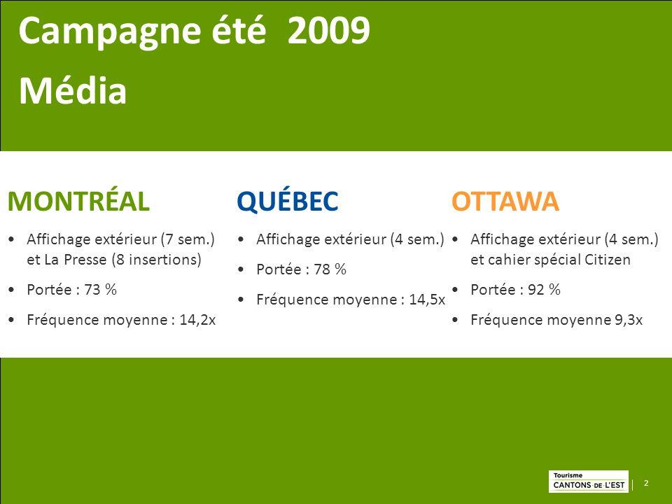 2 MONTRÉAL Affichage extérieur (7 sem.) et La Presse (8 insertions) Portée : 73 % Fréquence moyenne : 14,2x QUÉBEC Affichage extérieur (4 sem.) Portée : 78 % Fréquence moyenne : 14,5x OTTAWA Affichage extérieur (4 sem.) et cahier spécial Citizen Portée : 92 % Fréquence moyenne 9,3x Campagne été 2009 Média