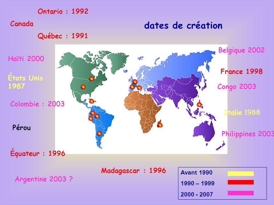 Philippines 2003 Madagascar : 1996 Ontario : 1992 Canada Québec : 1991 États Unis 1987 France 1998 Belgique 2002 Italie 1988 Colombie : 2003 Pérou Équ