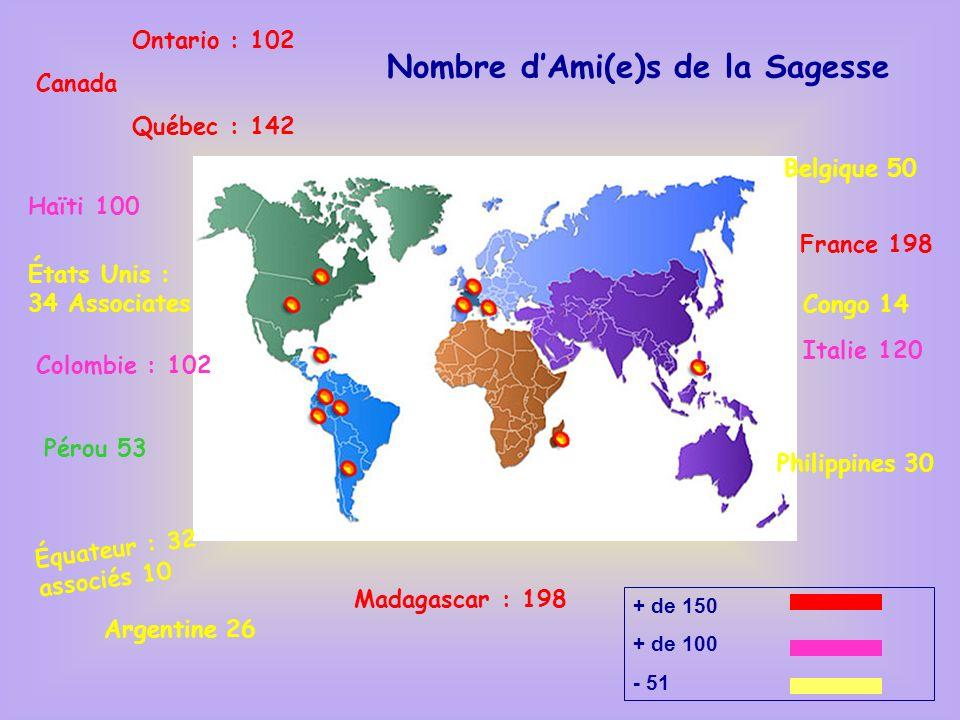 Philippines 30 Madagascar : 198 Ontario : 102 Canada Québec : 142 États Unis : 34 Associates France 198 Belgique 50 Italie 120 Colombie : 102 Pérou 53