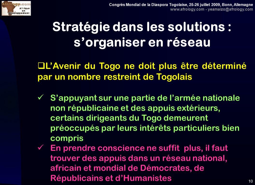 Congrès Mondial de la Diaspora Togolaise, 25-26 juillet 2009, Bonn, Allemagne www.afrology.com - yeamaizo@afrology.com 10 Stratégie dans les solutions : sorganiser en réseau LAvenir du Togo ne doit plus être déterminé par un nombre restreint de Togolais Sappuyant sur une partie de larmée nationale non républicaine et des appuis extérieurs, certains dirigeants du Togo demeurent préoccupés par leurs intérêts particuliers bien compris En prendre conscience ne suffit plus, il faut trouver des appuis dans un réseau national, africain et mondial de Démocrates, de Républicains et dHumanistes
