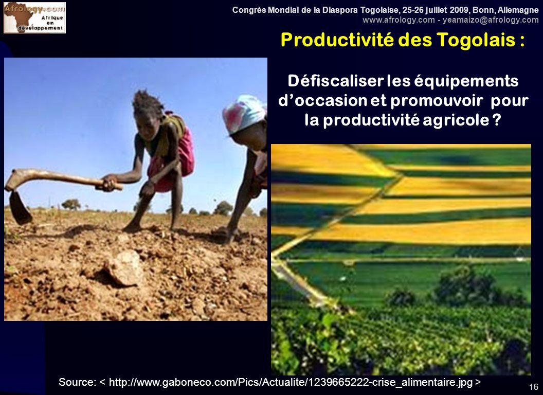 Congrès Mondial de la Diaspora Togolaise, 25-26 juillet 2009, Bonn, Allemagne www.afrology.com - yeamaizo@afrology.com 16 Productivité des Togolais : Défiscaliser les équipements doccasion et promouvoir pour la productivité agricole .