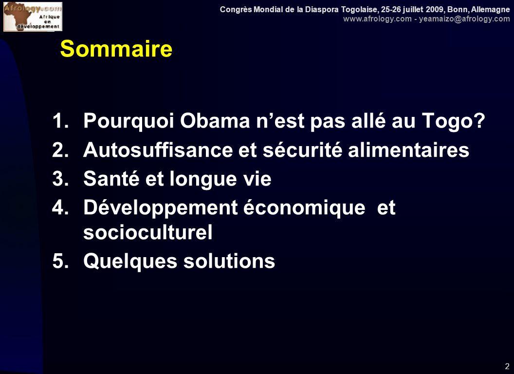 Congrès Mondial de la Diaspora Togolaise, 25-26 juillet 2009, Bonn, Allemagne www.afrology.com - yeamaizo@afrology.com 23 Accès à un système sanitaire performant : 1990 et 2006 (en % de la population) Source: WB, WBI, 2009, pp.