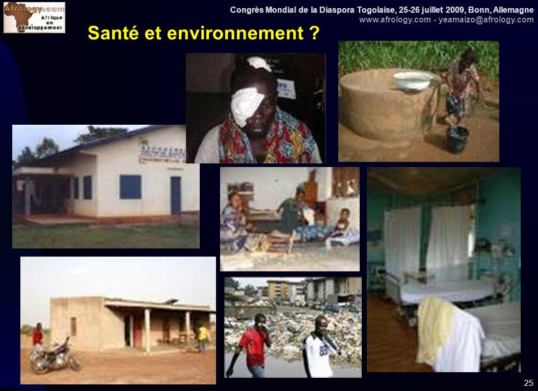 Congrès Mondial de la Diaspora Togolaise, 25-26 juillet 2009, Bonn, Allemagne www.afrology.com - yeamaizo@afrology.com 25 Santé et environnement ?