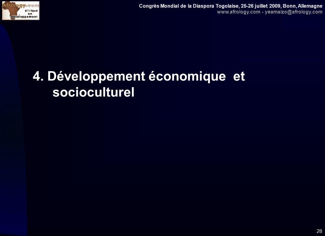 Congrès Mondial de la Diaspora Togolaise, 25-26 juillet 2009, Bonn, Allemagne www.afrology.com - yeamaizo@afrology.com 28 4. Développement économique