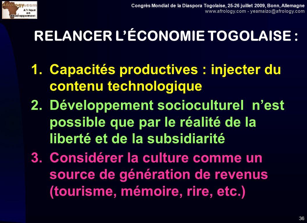 Congrès Mondial de la Diaspora Togolaise, 25-26 juillet 2009, Bonn, Allemagne www.afrology.com - yeamaizo@afrology.com 36 RELANCER LÉCONOMIE TOGOLAISE : 1.Capacités productives : injecter du contenu technologique 2.Développement socioculturel nest possible que par le réalité de la liberté et de la subsidiarité 3.Considérer la culture comme un source de génération de revenus (tourisme, mémoire, rire, etc.)