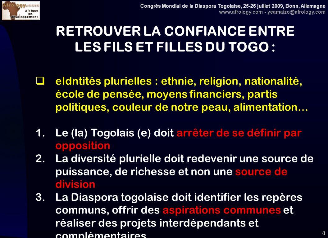 Congrès Mondial de la Diaspora Togolaise, 25-26 juillet 2009, Bonn, Allemagne www.afrology.com - yeamaizo@afrology.com 8 RETROUVER LA CONFIANCE ENTRE