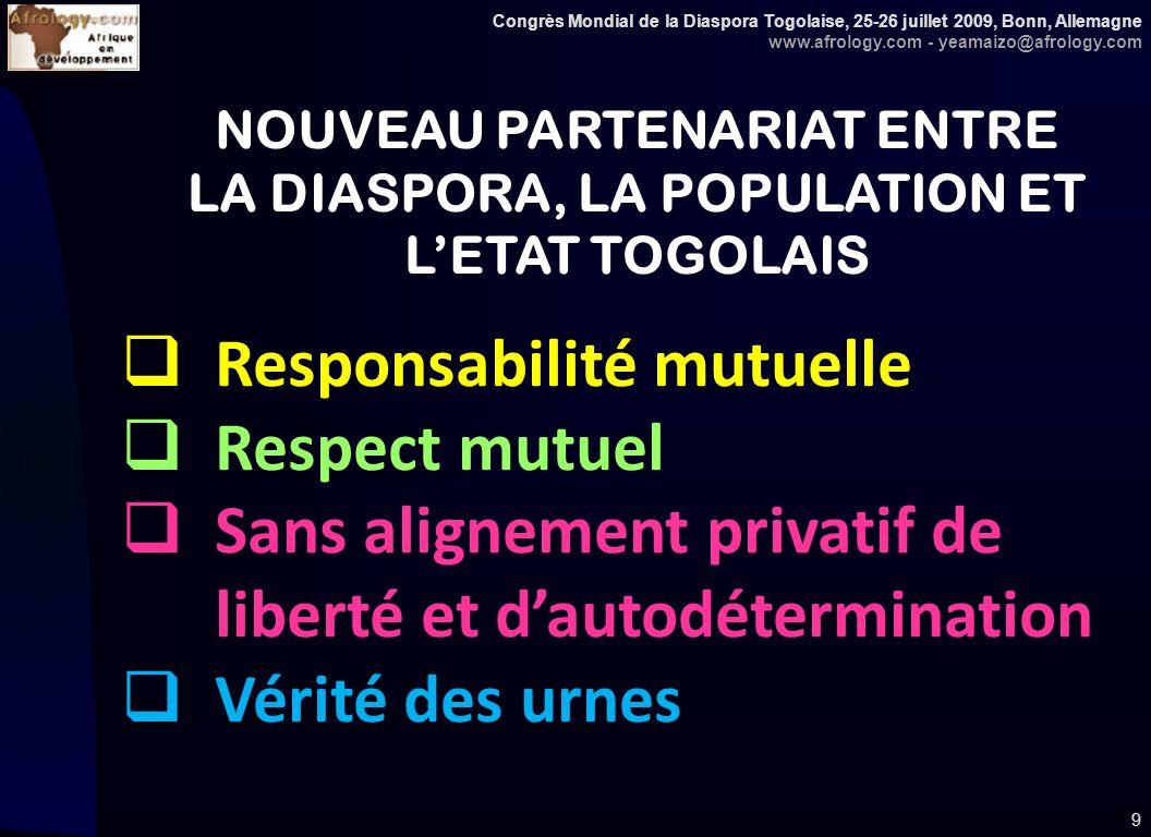 Congrès Mondial de la Diaspora Togolaise, 25-26 juillet 2009, Bonn, Allemagne www.afrology.com - yeamaizo@afrology.com 9 NOUVEAU PARTENARIAT ENTRE LA DIASPORA, LA POPULATION ET LETAT TOGOLAIS Responsabilité mutuelle Respect mutuel Sans alignement privatif de liberté et dautodétermination Vérité des urnes