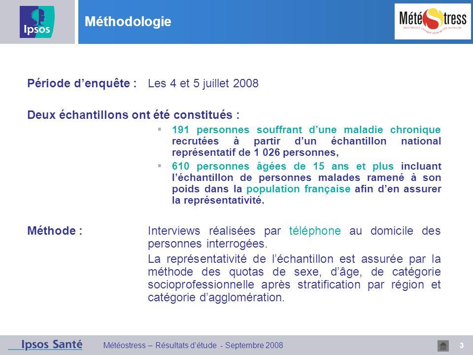 3 Météostress – Résultats détude - Septembre 2008 Méthodologie Période denquête :Les 4 et 5 juillet 2008 Deux échantillons ont été constitués : 191 pe