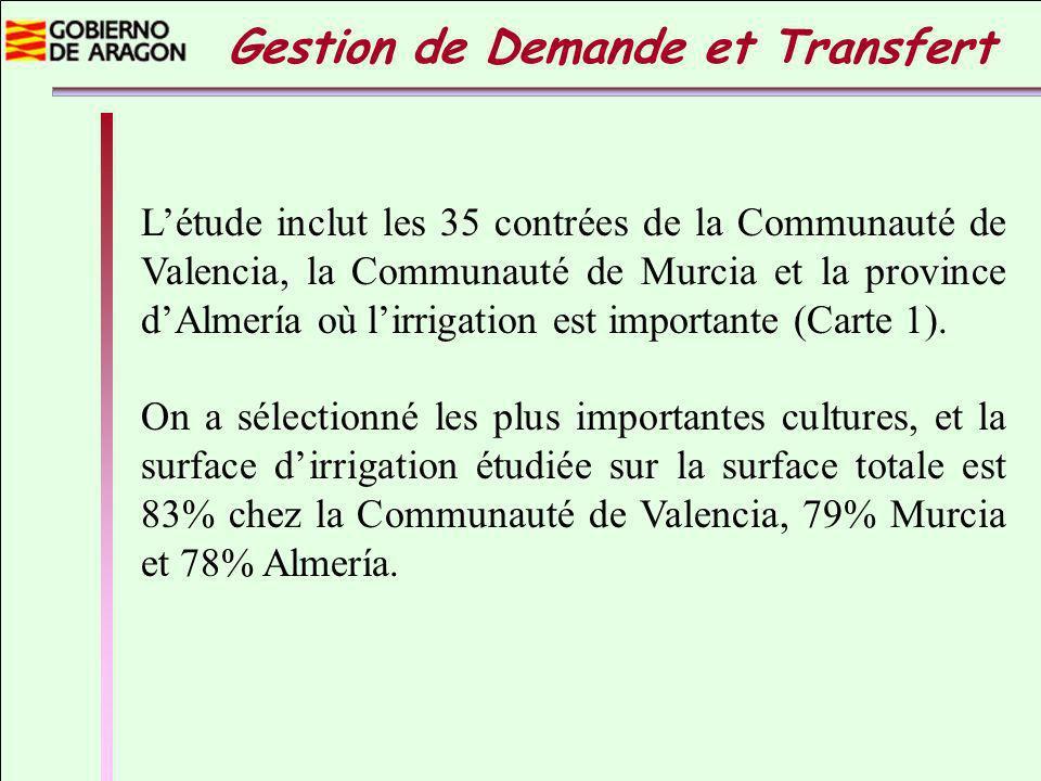 Létude inclut les 35 contrées de la Communauté de Valencia, la Communauté de Murcia et la province dAlmería où lirrigation est importante (Carte 1).