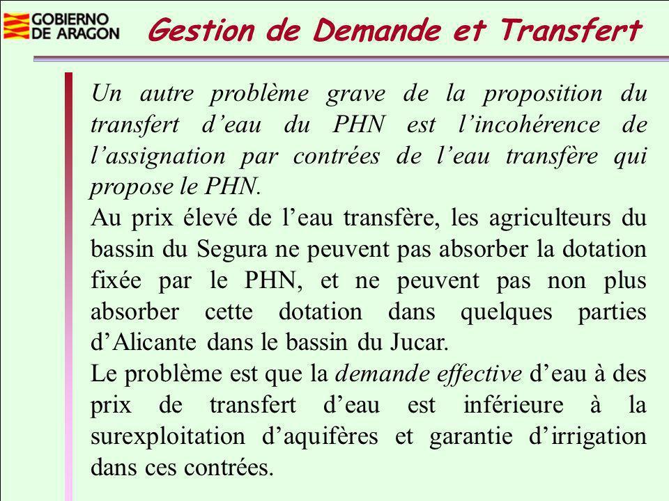 Un autre problème grave de la proposition du transfert deau du PHN est lincohérence de lassignation par contrées de leau transfère qui propose le PHN.
