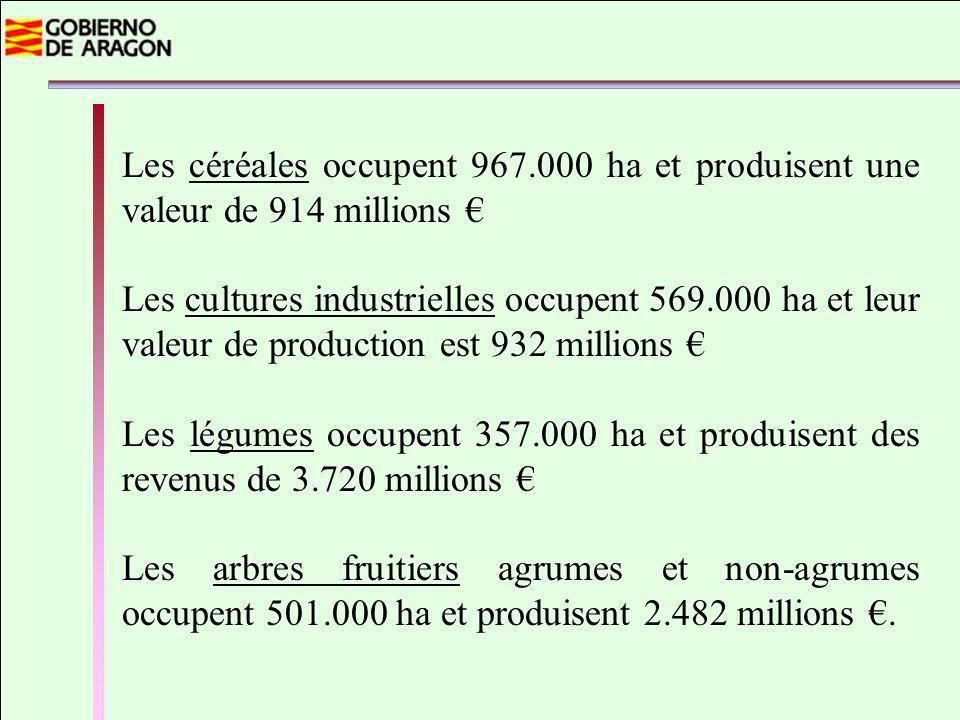 Les céréales occupent 967.000 ha et produisent une valeur de 914 millions Les cultures industrielles occupent 569.000 ha et leur valeur de production est 932 millions Les légumes occupent 357.000 ha et produisent des revenus de 3.720 millions Les arbres fruitiers agrumes et non-agrumes occupent 501.000 ha et produisent 2.482 millions.