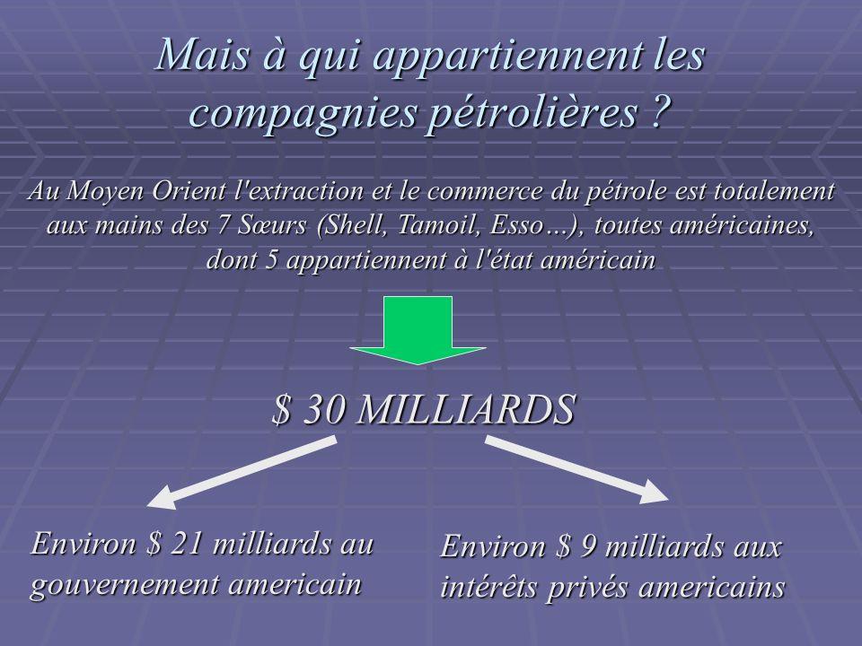 Mais à qui appartiennent les compagnies pétrolières ? Au Moyen Orient l'extraction et le commerce du pétrole est totalement aux mains des 7 Sœurs (She