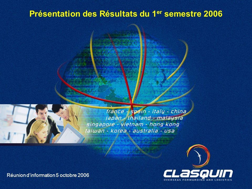 1 Réunion dinformation 5 octobre 2006 Présentation des Résultats du 1 er semestre 2006