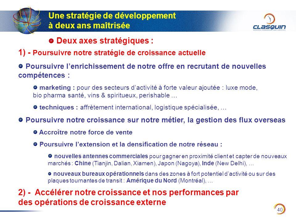 40 Une stratégie de développement à deux ans maîtrisée Deux axes stratégiques : 1) - Poursuivre notre stratégie de croissance actuelle Poursuivre lenr