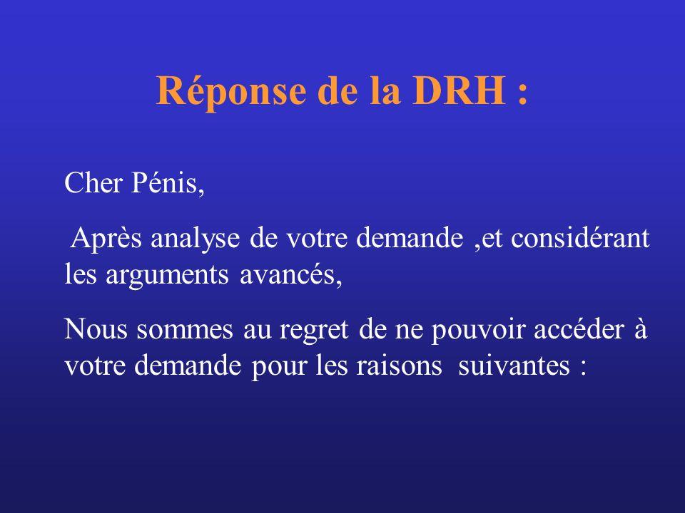 Réponse de la DRH : Cher Pénis, Après analyse de votre demande,et considérant les arguments avancés, Nous sommes au regret de ne pouvoir accéder à vot