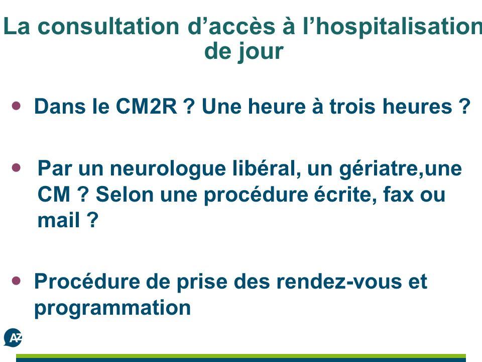 La consultation daccès à lhospitalisation de jour Dans le CM2R .
