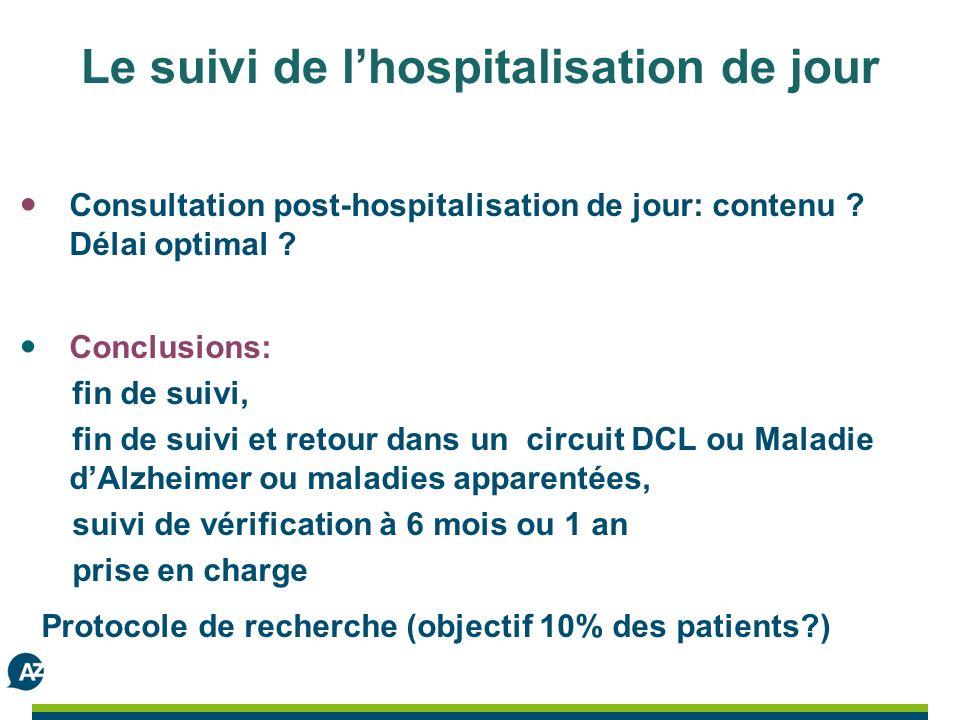 Le suivi de lhospitalisation de jour Consultation post-hospitalisation de jour: contenu .