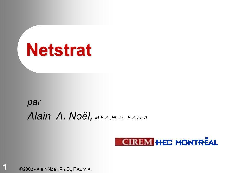 ©2003 - Alain Noël, Ph.D., F.Adm.A. 1 Netstrat par Alain A. Noël, M.B.A.,Ph.D., F.Adm.A.