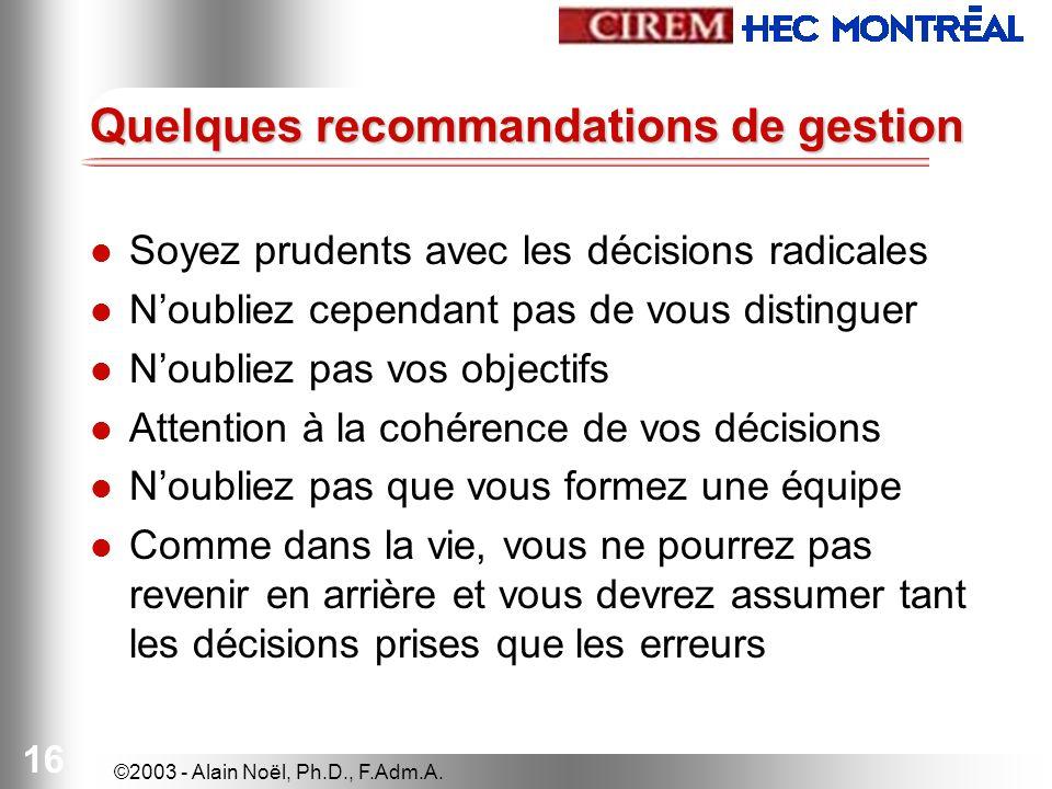 ©2003 - Alain Noël, Ph.D., F.Adm.A. 16 Quelques recommandations de gestion Soyez prudents avec les décisions radicales Noubliez cependant pas de vous