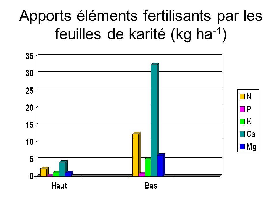 Apports éléments fertilisants par les feuilles de karité (kg ha -1 )
