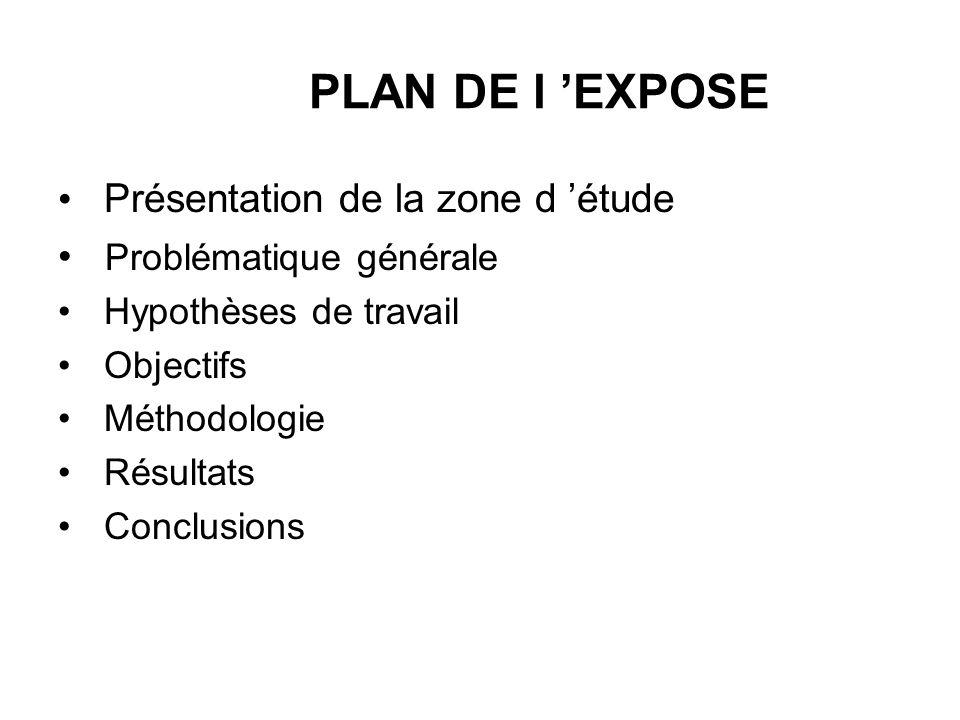 PLAN DE l EXPOSE Présentation de la zone d étude Problématique générale Hypothèses de travail Objectifs Méthodologie Résultats Conclusions