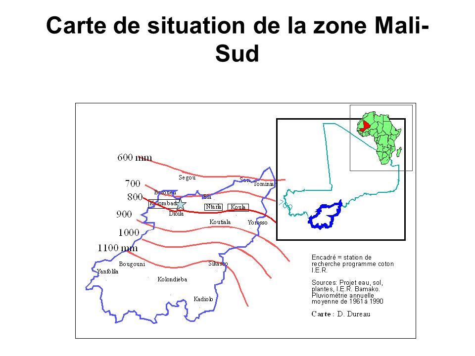 Carte de situation de la zone Mali- Sud