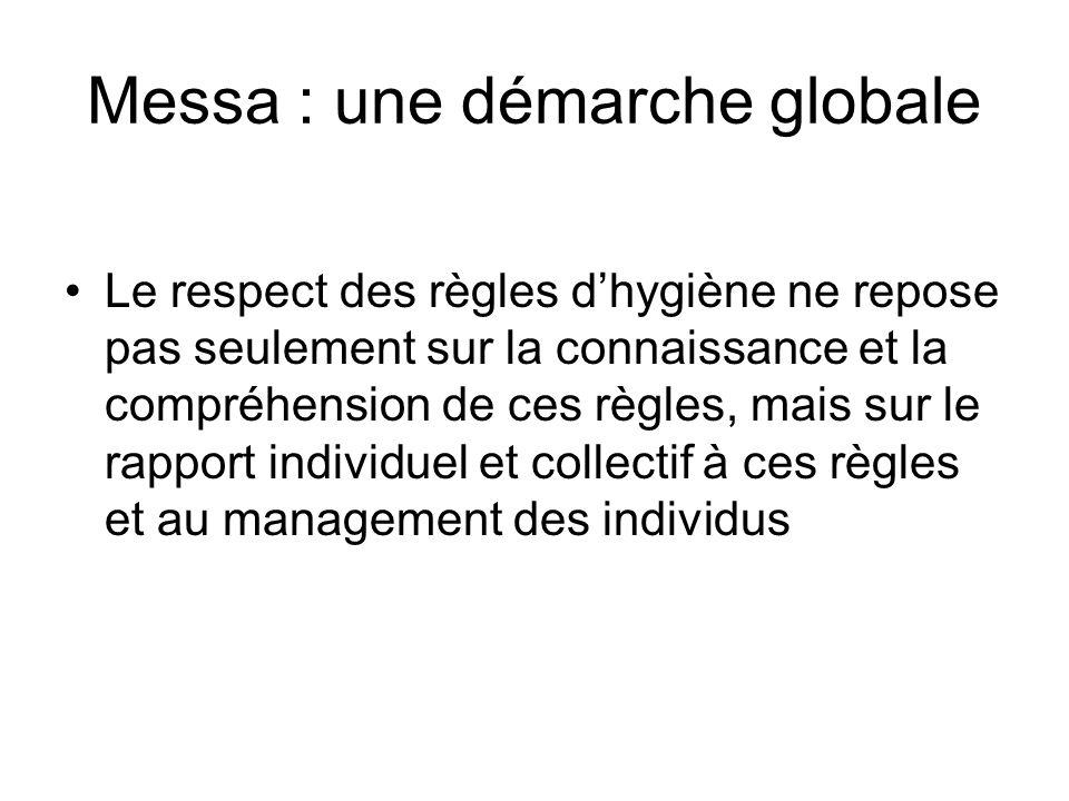 Messa : une démarche globale Le respect des règles dhygiène ne repose pas seulement sur la connaissance et la compréhension de ces règles, mais sur le rapport individuel et collectif à ces règles et au management des individus