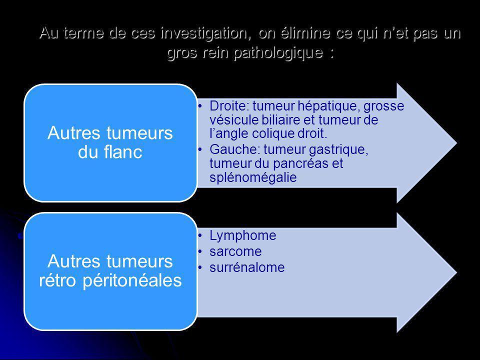 Au terme de ces investigation, on élimine ce qui net pas un gros rein pathologique : Droite: tumeur hépatique, grosse vésicule biliaire et tumeur de l