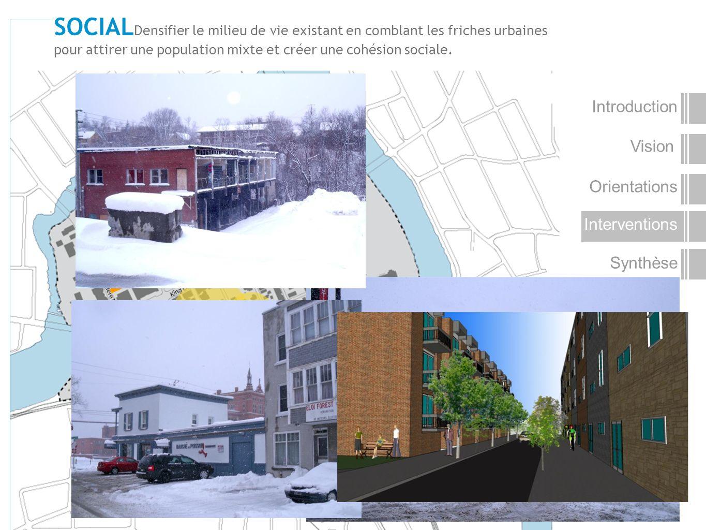 Vision Introduction Orientations Interventions Synthèse SOCIAL Densifier le milieu de vie existant en comblant les friches urbaines pour attirer une population mixte et créer une cohésion sociale.