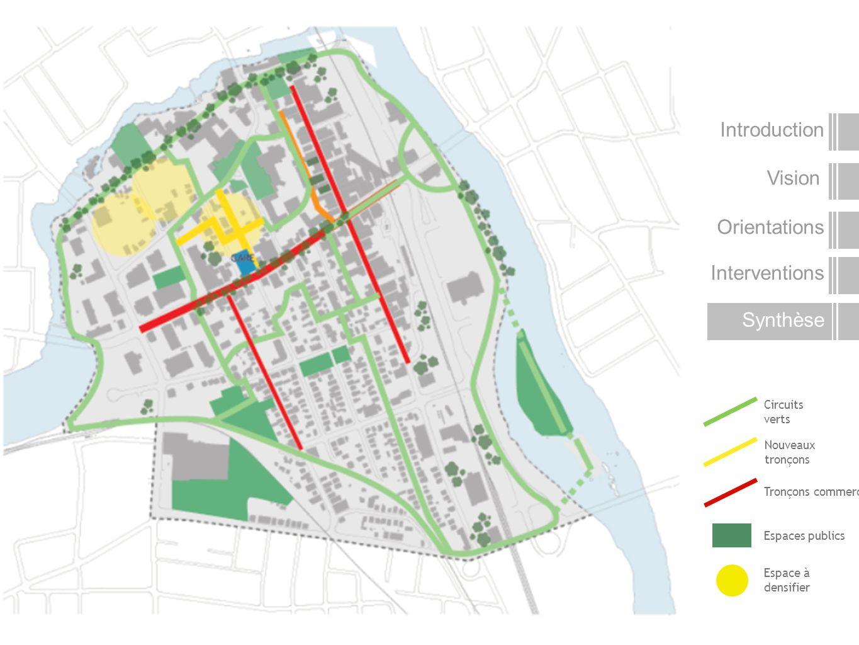 Vision Introduction Orientations Interventions Synthèse Nouveaux tronçons Tronçons commerciaux Espaces publics Circuits verts Espace à densifier