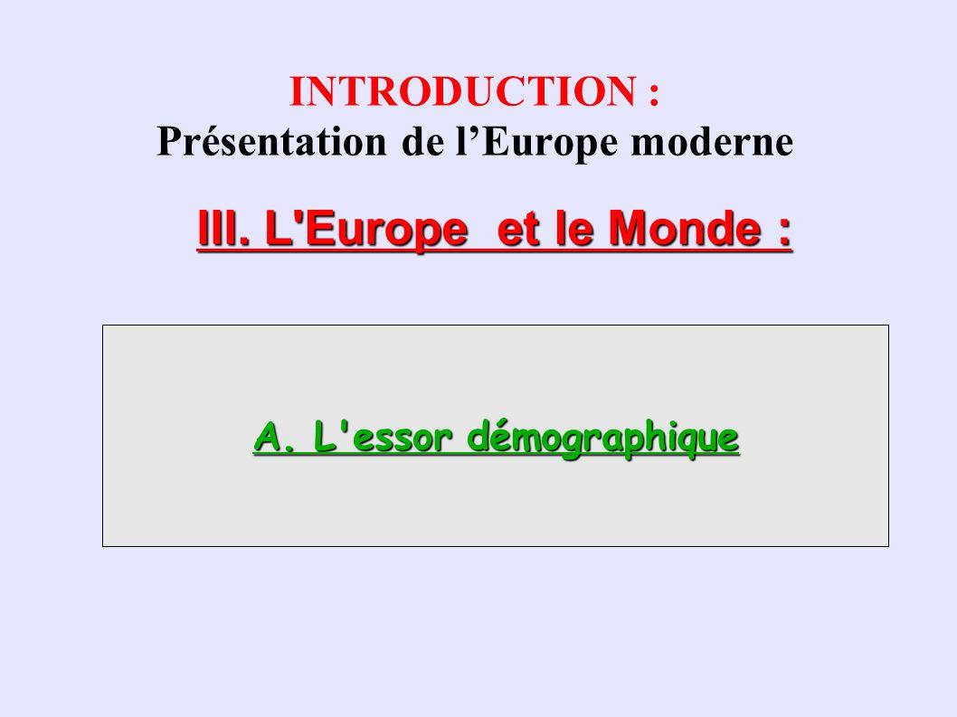 Évolution de la population de quelque pays européens Population européenne vers 1600 : environ 100 millions Population européenne vers 1800 : environ 170 millions 1.