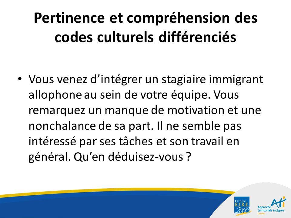 Pertinence et compréhension des codes culturels différenciés Vous venez dintégrer un stagiaire immigrant allophone au sein de votre équipe.