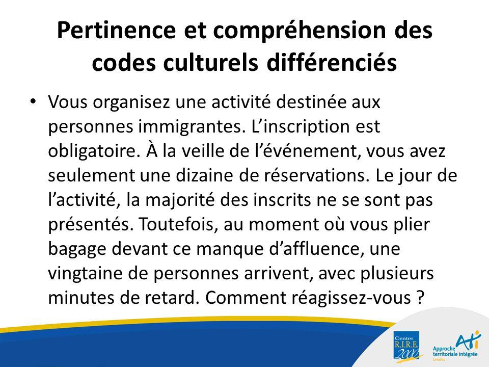 Pertinence et compréhension des codes culturels différenciés Vous organisez une activité destinée aux personnes immigrantes.