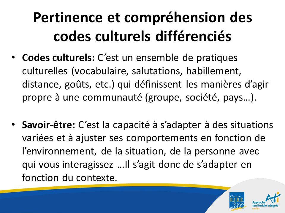 Pertinence et compréhension des codes culturels différenciés Codes culturels: Cest un ensemble de pratiques culturelles (vocabulaire, salutations, habillement, distance, goûts, etc.) qui définissent les manières dagir propre à une communauté (groupe, société, pays…).