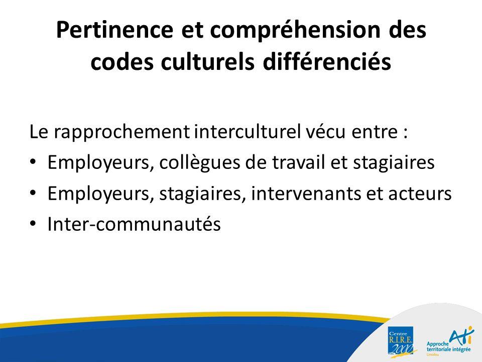 Pertinence et compréhension des codes culturels différenciés Le rapprochement interculturel vécu entre : Employeurs, collègues de travail et stagiaires Employeurs, stagiaires, intervenants et acteurs Inter-communautés