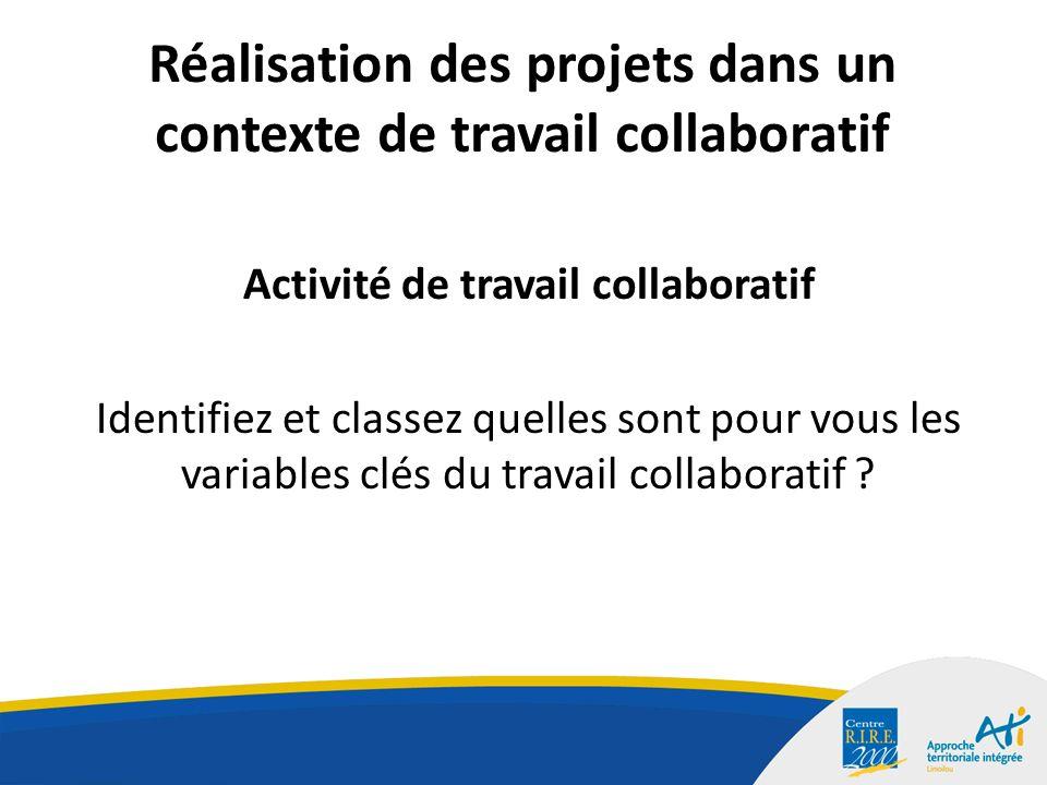 Réalisation des projets dans un contexte de travail collaboratif Activité de travail collaboratif Identifiez et classez quelles sont pour vous les variables clés du travail collaboratif