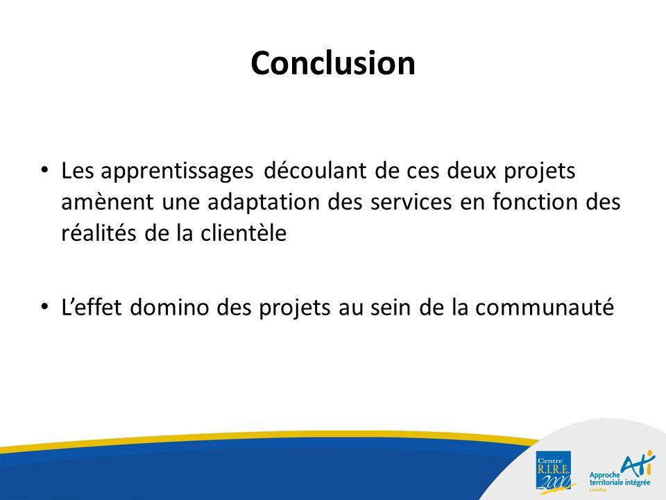 Conclusion Les apprentissages découlant de ces deux projets amènent une adaptation des services en fonction des réalités de la clientèle Leffet domino des projets au sein de la communauté