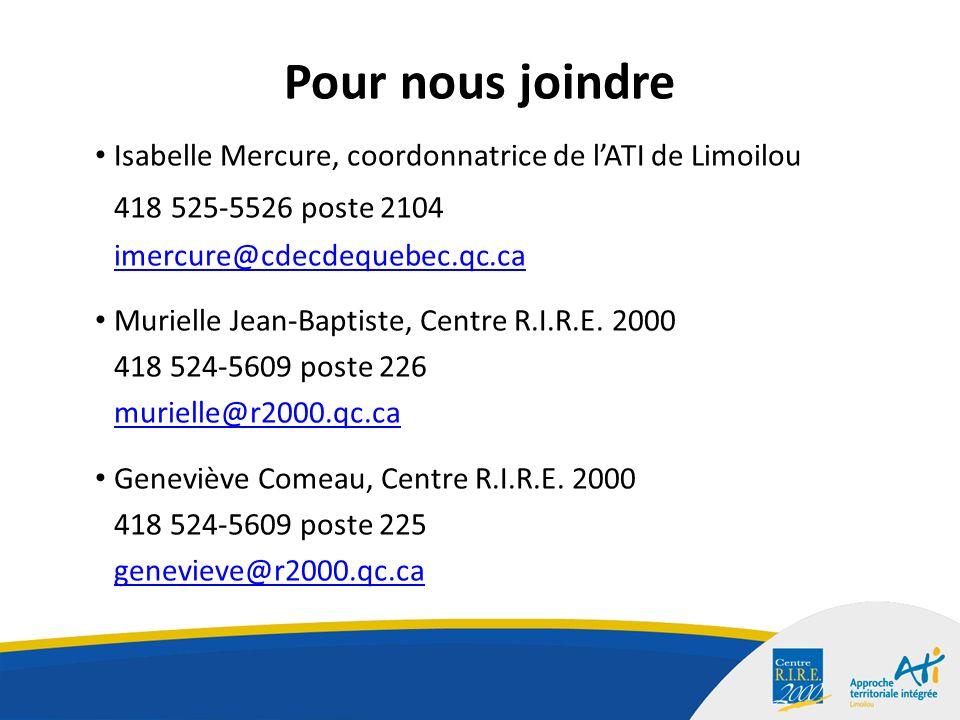 Pour nous joindre Isabelle Mercure, coordonnatrice de lATI de Limoilou 418 525-5526 poste 2104 imercure@cdecdequebec.qc.ca Murielle Jean-Baptiste, Centre R.I.R.E.